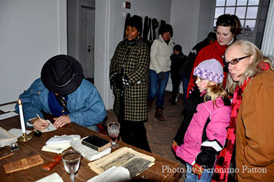 www.allmichigancivilwar.com - Welcome to the main page.  This image shows a view of guests at a historic site seeing history come to life up close.